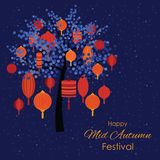 Tree lantern mid autumn. Vector illustration of greeting card for Mid Autumn Festival with traditional lanterns with red lamps handing on the tree on dark sky Stock Photos