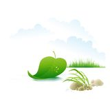 Tree leaf floating on the river. Vector Stock Photos