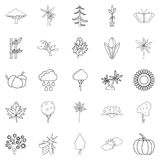 Tree leaf icons set, outline style Stock Images