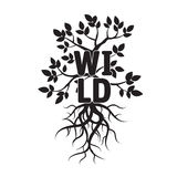 Tree, leafs, roots, and text WILD Royalty Free Stock Images