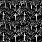 Tree without leaves on black background. Seamless floral pattern Royalty Free Stock Photo