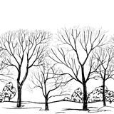 Tree without leaves on black background. Seamless floral pattern Royalty Free Stock Images