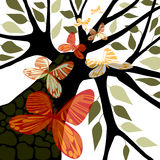 Tree with leaves & butterflies. Tree silhouette with red, orange, green butterflies and green leaves, white background, vector illustration Stock Image