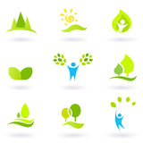 Tree, leaves and ecology  icon set, green. Vector collection of trees and nature icons Stock Photography