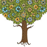 Tree with leaves. And flowers. Vector. Hand drawn Stock Photography
