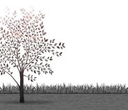 Tree with leaves and grass vector background Royalty Free Stock Photography
