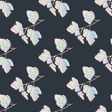 Tree leaves on a gray background Beautiful seamless pattern Royalty Free Stock Photo