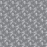 Tree leaves on a gray background vector illustration seamless pattern Royalty Free Stock Photo