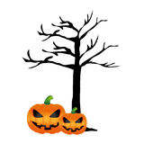 Tree without leaves and halloween pumpkins Stock Image