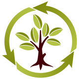 Tree with leaves and recycling symbol. Stylized Tree with leaves and recycling symbol isolated on white background, all element grouping together, for design Stock Image