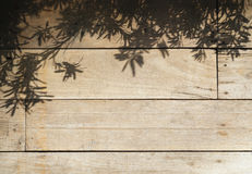 Tree leaves shadow on Wood planks Nature Abstract background Stock Photo