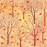 Tree without leaves on yellow background.  Fall Seamless floral pattern Royalty Free Stock Image