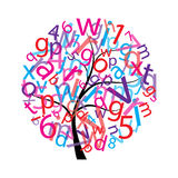 Tree with letters Royalty Free Stock Image
