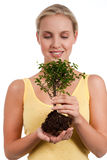 Tree of life. Young woman holding a bonsai tree, isolated on white. Concept: new life Stock Images