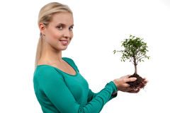 Tree of life. Young woman holding a bonsai tree, isolated on white. Concept: new life Royalty Free Stock Photo