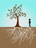 Tree life. A guy and tree with roots Royalty Free Stock Image