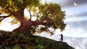 Tree Of Life. Fantasy sky and landscape with the giant tree and little lady. Digital 3D illustration created by me Royalty Free Stock Photography