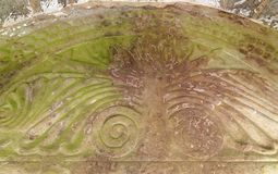 Tree of Life. 1130 AD, carved Tympanum above the South Door of St. Mary`s Norman Church, Kempley, Newent, Gloucestershire stock photo