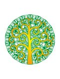 Tree of life against a background of green mandala. Logo.  Spiritual symbol. Tree of life against a background of green mandala. Artistic background. Logo Royalty Free Stock Images