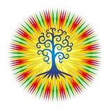 The tree of life against the background of the openwork mandala in bright colorful colors. vector illustration