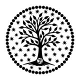 The tree of life with the Aum / Om / Ohm sign in the center of the mandala in the background of the stars. Royalty Free Stock Image