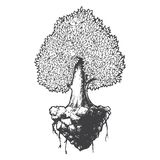 Tree life black and white sketch cartoon doodle vector illustration Royalty Free Stock Images