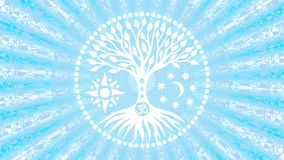 The tree of life in the center of the mandala in a halo of rotating rays. Spiritual and sacred symbol. Video art.