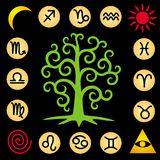 The tree of life is in the center of the square. 12 signs of the zodiac. Vector. The tree of life is in the center of the square. 12 signs of the zodiac and royalty free illustration