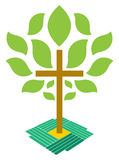 The Tree of Life Christianity Cross Logo. Four hands planting a cross in golden soil. You can perceive the darker green hand as being the Gods right hand or Stock Image