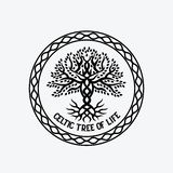 Tree of life. Circle of celtic tree of life black sign royalty free illustration