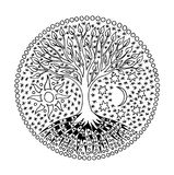 Tree of life in the circle. Mandala. Sun and Moon. Spiritual symbol. Black and white Stock Images