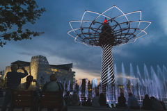 Tree of Life in the evening at Expo 2015 in Milan, Italy. MILAN, ITALY - MAY 13: Tree of Life in the evening at Expo, universal exposition on the theme of food royalty free stock photography