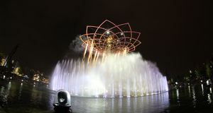 Tree of life. The tree of life in the evening show at the expo 2015 Royalty Free Stock Photos
