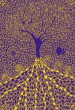 The tree of life. Graphic art symbolic picture. Symbol, metaphor of life and growth. Yellow pattern on a blue substrate. Author`s graphics vector illustration