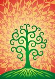 The tree of life on a green hill. The formula of the universe. Spiritual symbol. The tree of life on a green hill. Spiral. The formula of the universe Stock Photography