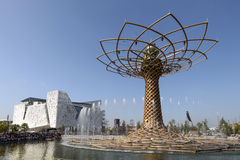 Tree of life and Italia Pavilion , EXPO 2015 Milan. MILAN, ITALY - October 07, EXPO 2015, view of the symbols of the exhibition with gushes of water from the royalty free stock image