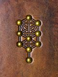 The Tree of Life, Kabbalah symbol embossed to aged brown leather stock image