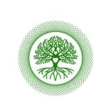Tree of life and Love. The tree of life in the abstract circle. green. Against the background of the sun, love Symbol of growth, rootedness, stability, stability stock illustration