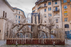 Tree of Life monument to the victims of the Holocaust was opened in 1990 in Budapest, Hungary. BUDAPEST, HUNGARY - FEBRUARY 21, 2016: Tree of Life monument to Stock Photo