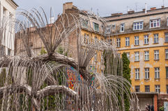 Tree of Life monument to the victims of the Holocaust was opened in 1990 in Budapest, Hungary. BUDAPEST, HUNGARY - FEBRUARY 21, 2016: Tree of Life monument to Stock Photos