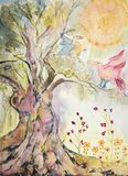 Tree of life with playing doves.