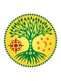The tree of life in the solar circle. mandala. Spiritual Symbol. The tree of life in the solar circle. Mandala. Yellow and green.  Against the background of the Stock Images