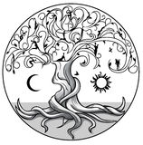 Tree of life2. Tree of life with sun and moon on white background Stock Photography