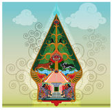 Gunungan or Tree of life symbol on puppets show. A symbol of the universe in a puppet show, packaged like the shape of a mountain with a big tree in the middle Stock Photos