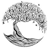 Tree of life on a white background. Black tree of life on white background royalty free illustration