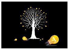 Tree with light bulbs. Silhouette of a tree in white sprouting yellow light bulbs on black background Stock Images