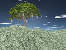 Tree with light bulbs grows out of US currency Stock Images