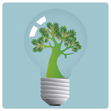 Tree in a lightbulb Stock Images