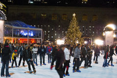 Tree Lighting and Skaters Bryant Park Stock Photos