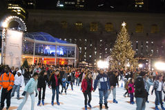 Tree Lighting and Skaters Bryant Park Royalty Free Stock Image